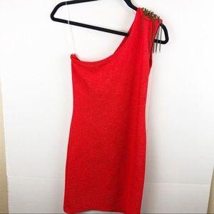 Entro One shoulder Orange Red mini dress